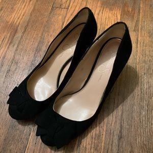 Black Wedge Heels Flocked Bows on Toe Sz 9.5